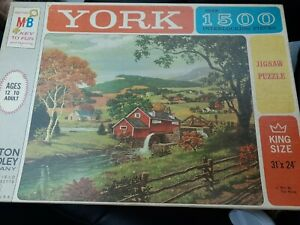 Milton Bradley York 1500 Piece Puzzle king size MILL BY THE BROOK Vintage 1963