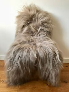 XL Large Taupe/Cacao Brown Genuine Icelandic Sheepskin Sheep Long Soft Fur Rug