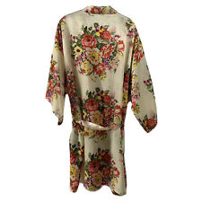 Vintage Floral Silky Knee Length Robe Belted Womens S/M Cream 3/4 Sleeve