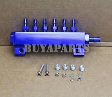JDM Turbo Wastegate Boost Fuel Vacuum Gas Manifold Kit w/ 6 Ports 1/8 NPT Blue