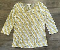 Coldwater Creek Womens Shirt Tee Burnout Yellow Green 3/4 Sleeve NWOT Sz M 10 12
