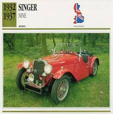1932-1937 SINGER NINE Sports Classic Car Photo/Info Maxi Card