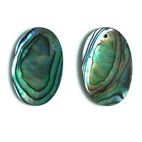 2 PC Natural Abalone Shell 16 x 25mm Oval Slab Pendant - Wholesale New DIY