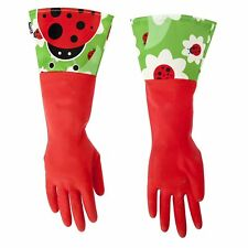 Vigar Ladybug Red Latex Dish Washing Gloves with Extended Cuff - Medium