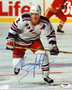 Brian Leetch SIGNED 8x10 Photo New York Rangers HOF PSA/DNA AUTOGRAPHED