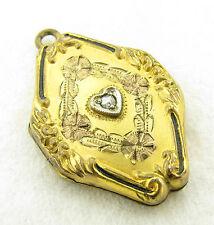 Vintage Gold Filled Multi Colored Diamond Enamel Photo Pendant Necklace Locket
