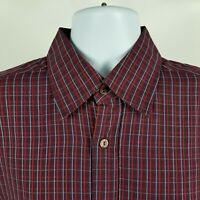 Bugatchi Uomo Mens Red Blue Check L/S Dress Button Shirt Sz Large L