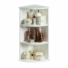 White Corner Bathroom Storage 3 Shelves Wall Mount Floor Standing Bath Caddy New