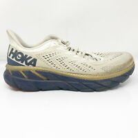 Hoka One One Mens Clifton 7 1110508 TVID Beige Gold Blue Running Shoes Size 11
