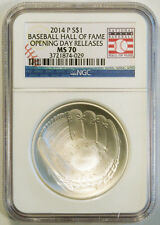 2014-P $1 SILVER BASEBALL HALL OF FAME NGC MS 70 OPENING DAY RELEASE