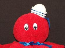 VINTAGE SUGARLOAF SAILOR HAT RED OCTOPUS PLASTIC EYES PLUSH STUFFED ANIMAL TOY