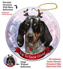 Holiday Pet Gifts Blue Tick Coonhound Reindeer Dog Porcelain Christmas Ornament