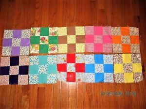 LOT OF 55 VTG 40'S 50'S COTTON FEEDSACK + NINE PATCH QUILT BLOCKS CRAFT PROJECT
