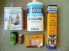 VINTAGE/Antique 6 Pc LOT~MEDICAL SUPPLIES~FIRST AID~TINS BOTTLE~MICKEY MOUSE TIN
