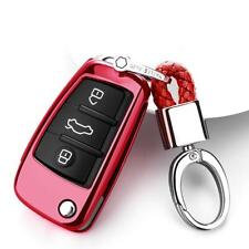 For Audi TT S3 Q3 Q7 A3 A1 3 Button Remote Key Fob Case Cover +Keychain Red