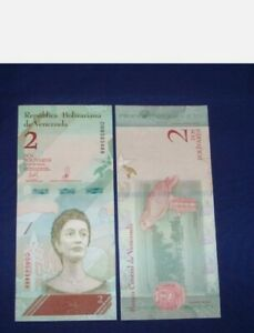 Full Bundle of 100 pcs Bank Notes from Venezuela 2 Bolivares Uncirculated 2018