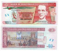 GUATEMALA 10 Quetzales (2010) P-123a UNC Banknote Paper Money