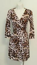 Diane von Furstenberg New Julian two mini Snow Cheetah 12 Neutral wrap dress DVF