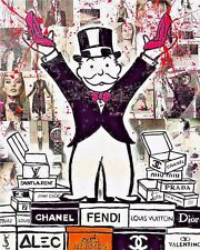 """Alec Monopoly Oil Painting on Canvas Urban art Wall Decor Fashion Brands 28x36"""""""