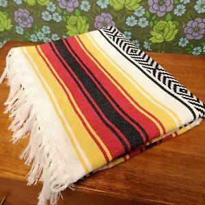 Mexican Red Yellow Woven Stripy Falsa Yoga Serepe Blanket / Throw 130x170cm