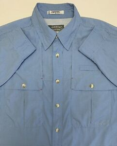 C19 Orvis Trout Bum Blue Check Button Down Fishing Shirt Mens L Polyester Nylon