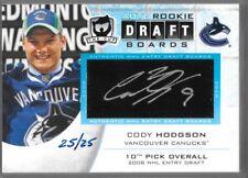 11/12 The Cup Draft Boards Auto Rookie Cody Hodgson /25 DB-CH Canucks