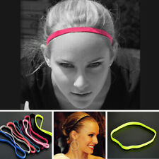 AU_ Women's Men's Candy Color Sports Running Anti Slip Elastic Headband Hair Ban