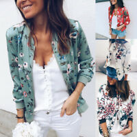 Fashion Women Ladies Retro Floral Zipper Up Bomber Jacket Casual Coat Outwear