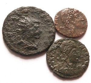 3 genuine ancient Roman bronze coins - UK find