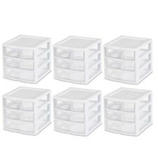 3 Drawer Small Desktop Organizer Home Office Bedroom Plastic Desk Storage 6 PC