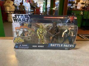 2011 Hasbro Star Wars Battle Packs Rebel Heroes C3P0 Han Solo Chewbacca MOC