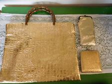 Vintage 3 Pc Mid Century Shiny Gold Handbag Tote Purse w Mirror, Eyeglass Case