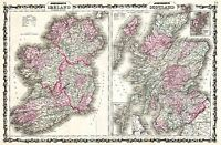 MAP ANTIQUE 1862 JOHNSON SCOTLAND IRELAND OLD LARGE REPLICA POSTER PRINT PAM0334