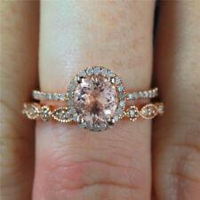 2 PC Round Rhinestone Crystal Rose Gold Bridal Engagement Wedding Ring Set