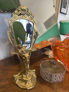 Vintage Art Deco Table Mirror Brass