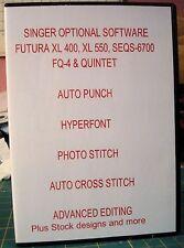 SINGER FUTURA SOFTWARE FOR XL-400, XL-550 FQ4 and  Quintet! 5 PROGRAMS+ Bonus CD