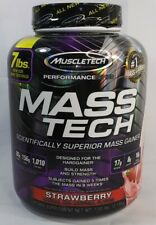 Mass Tech Mass Gainer Protein Powder Muscle Size Body Builder Strawberry 7lbs