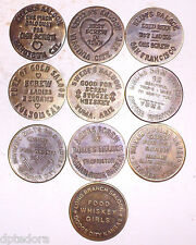 10 SOLID BRASS BROTHEL - CAT HOUSE TOKENS LOT - 1