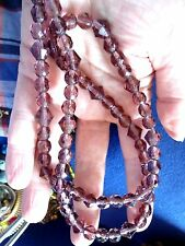 BEAUTIFUL, REALISTIC LOOKING AMETHYST GLASS MULTICUT VINTAGE NECKLACE (R2)