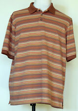 Weatherproof Brick Red, Tan, & Orange Striped S/S Pique Polo Shirt XL