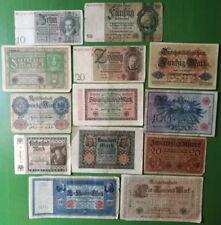 Germany lot 13 banknotes 1908-1924. VG/F