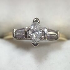 14k Yellow Gold 1/2 Carat Ct Diamond Marquise Solitaire Baguette Wedding Ring 8