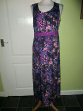 BEING CASUAL SIZE 14 LADIES LONG SILKY SUMMER DRESS BLACK PURPLE PRINT