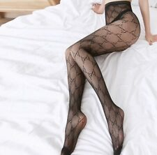New GG Monogram Black Tights Panty Hose Sheer Mesh Stockings + Gucci Envy Perfum