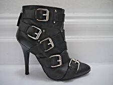 BALMAIN by Giuseppe Zanotti black leather straps buckles ankle boots bootie 38.5