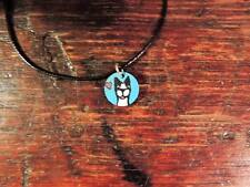 Custom Folk Art Hand painted Boston Terrier Dog Necklace Pendant Personalized