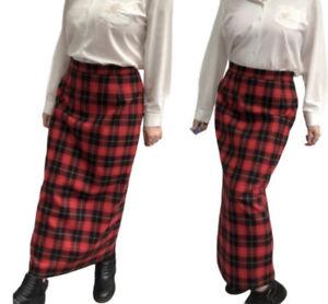 Vintage Skirt 12 Tartan Kilt Check Pinup Pencil Maxi Grunge Handmade Punk Indie