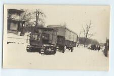 WWII U.S. Army transport truck vehicle with tank tracks in snow original photo