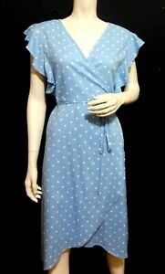 Cotton On polka dot wrap dress, sky blue, sz. 12/M, near new