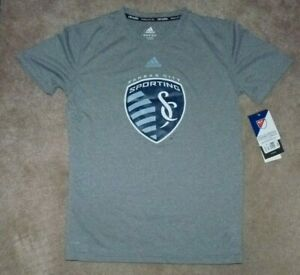 NEW ADIDAS MLS Kansas City Sporting Soccer T Shirt Youth Boys L 14 16 NWT